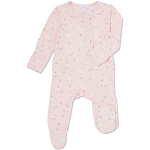 Pink Baby Bunnies Ruffle Zipper Footie