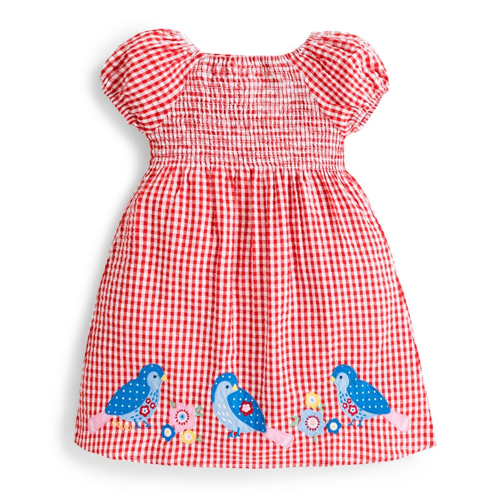 Bird Applique Smock Dress