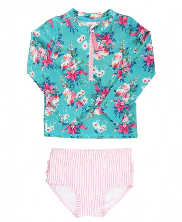 Fancy Me Floral L. S. Rash Guard Bikini Set