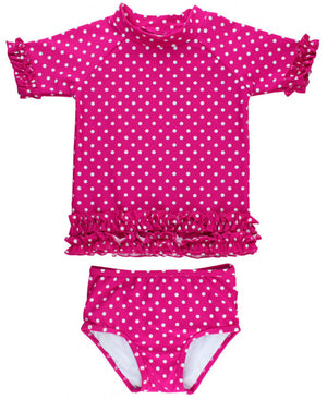 Berry Dotted Ruffle Long Sleeve Rash Guard Bikini