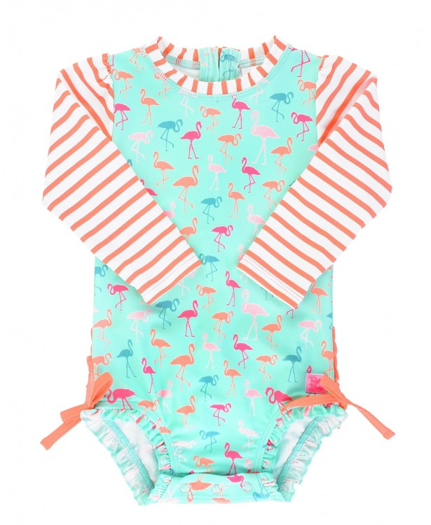 Flamingo Stripe One Piece Rashguard