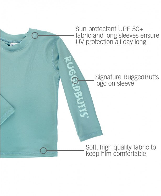 Marine Blue Logo Long Sleeve Rash Guard