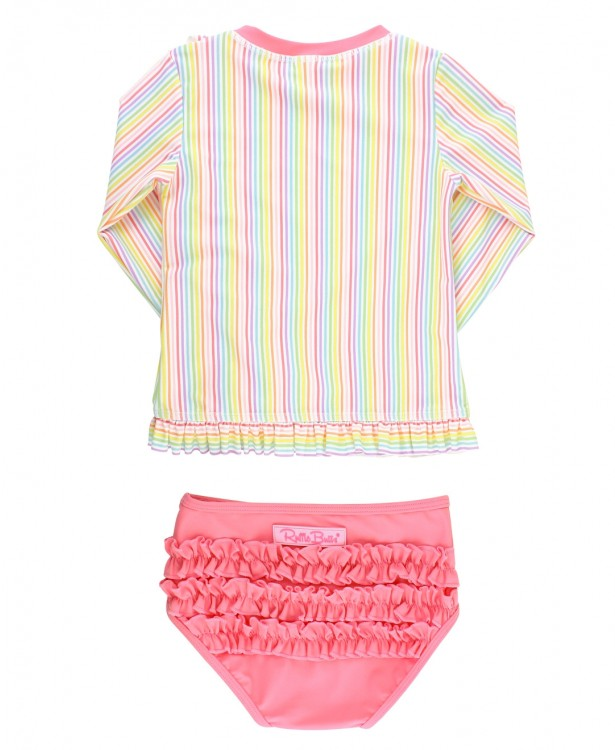 Rainbow Stripe Ruffle Long Sleeve Rash Guard Bikini