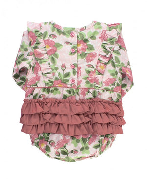 Blushing Posies Bubble Romper & Moss Tights Set
