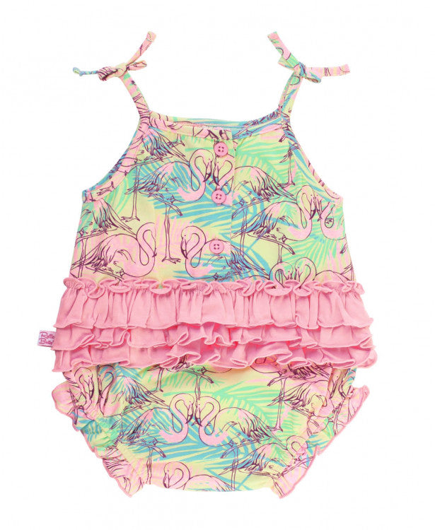 Let's Flamingo Pom Pom Bubble Romper