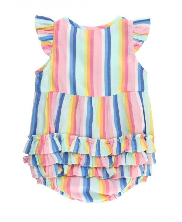 Playful Stripe Ruffle Placket Bubble Romper