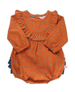 Spiced Clove Ruffled Bubble Romper