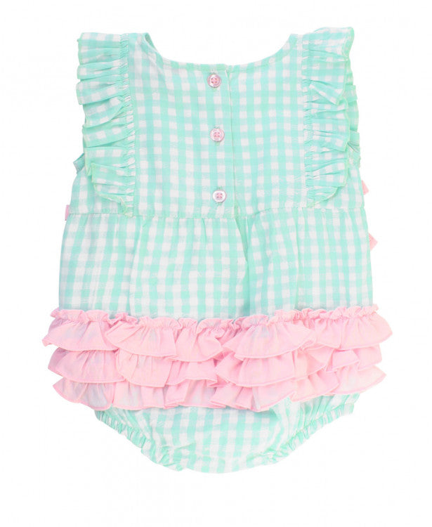 Clear Blue Gingham Ruffle Romper