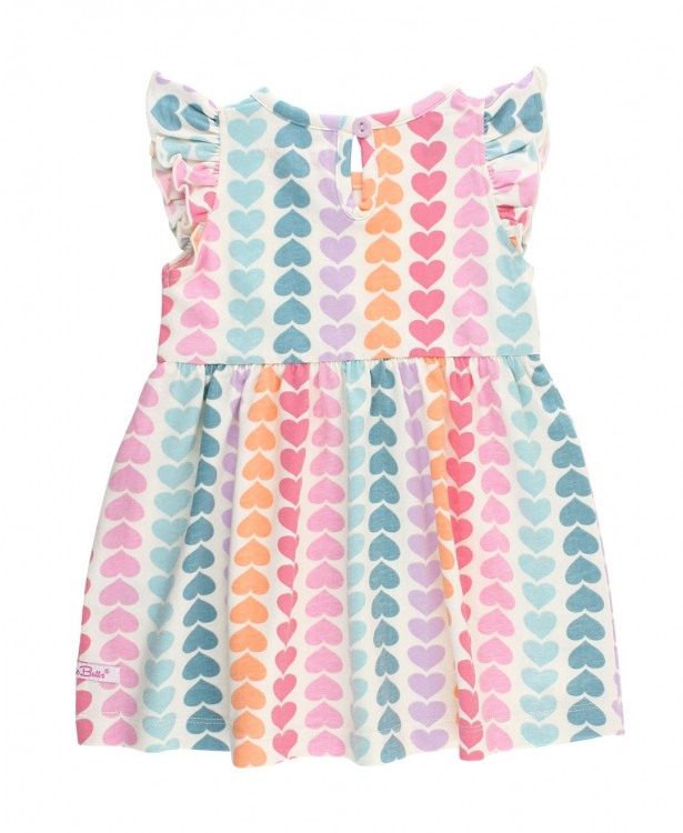 Rainbow Hearts Flutter Dress