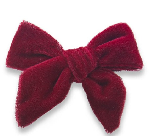 Baby Bling - Red Velvet Bow Clip