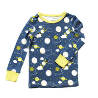 Silkberry Baby Bamboo Pajamas - Navy/Lime Galaxy Print