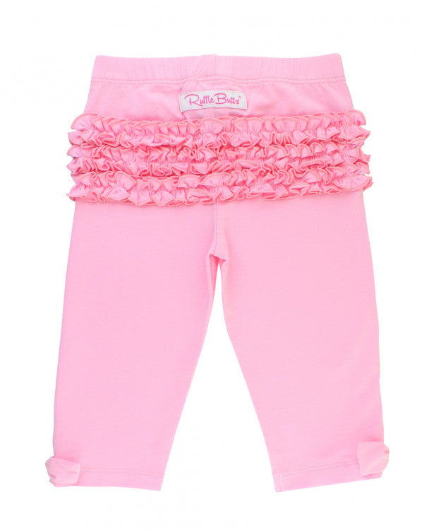 Pink Bow-Detail Capri Leggings