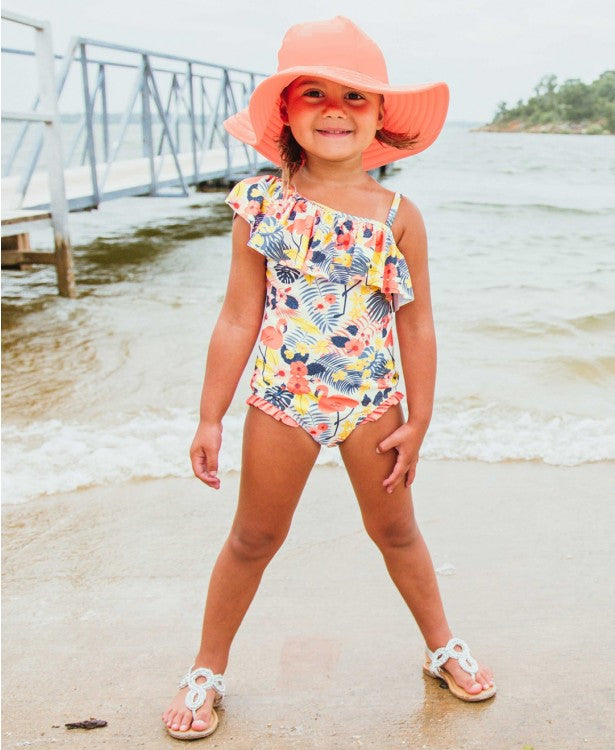 Tropical Flamingo Shoulder One Piece