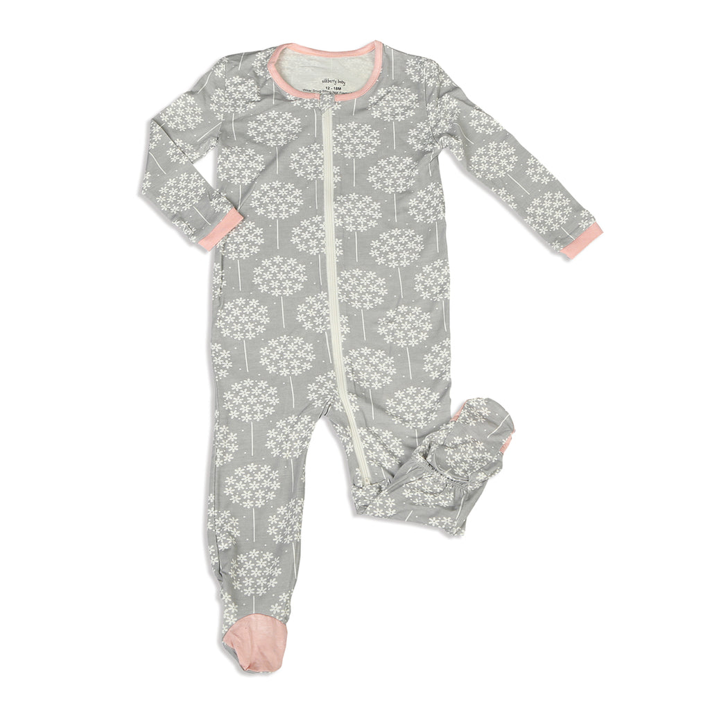 Floral Dandelion - Silkberry Baby Bamboo Footie