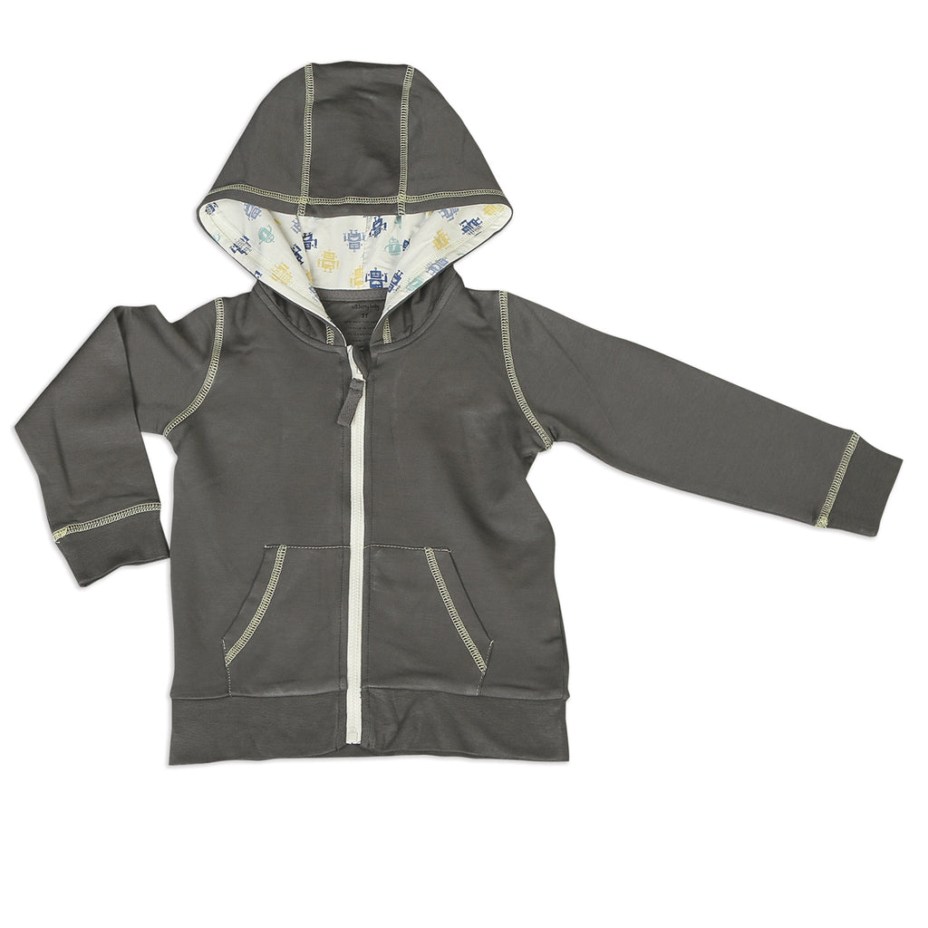 Bamboo Fleece Grey and Robot Hooded Jacket