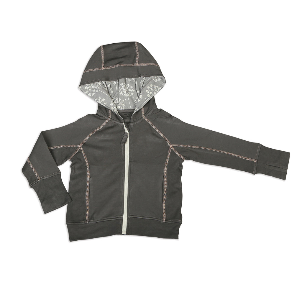 Bamboo Fleece Grey and Dandelion Hooded Jacket