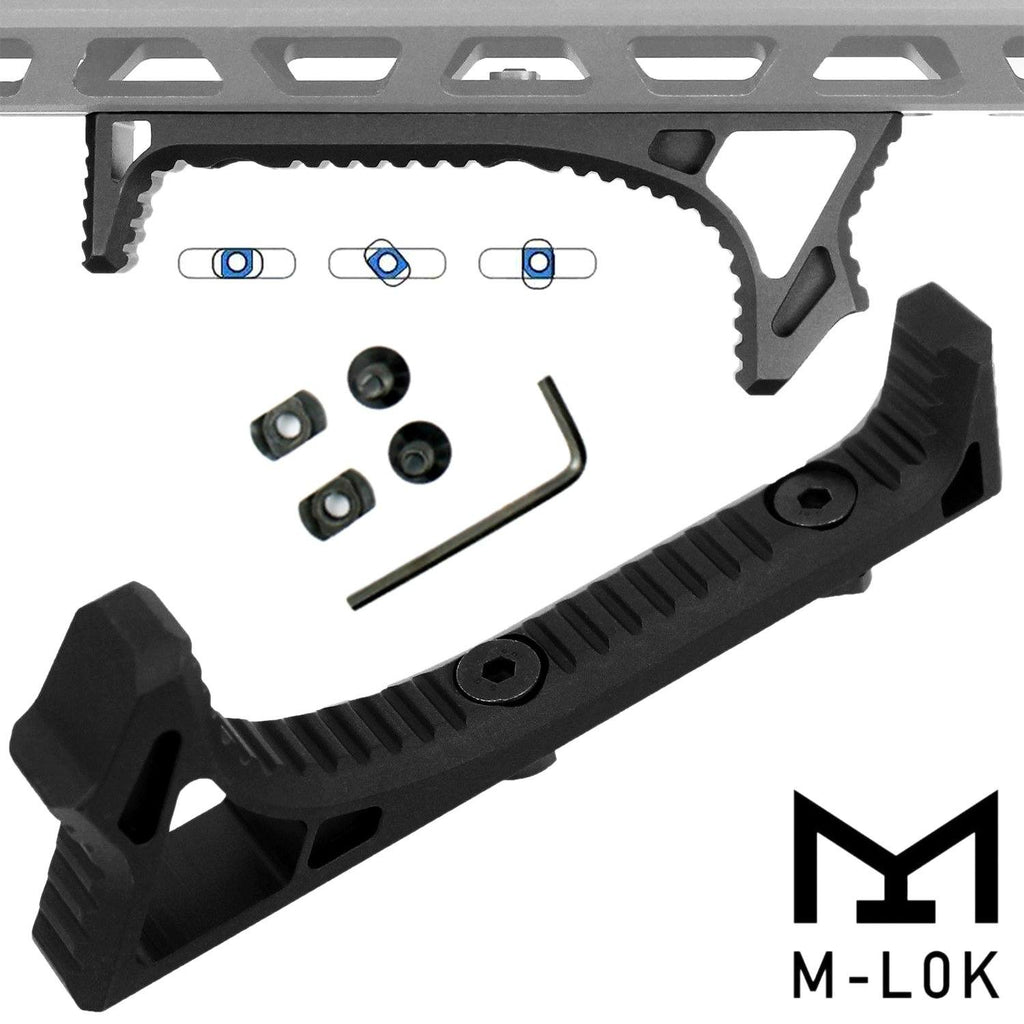 M-LOK Angled Foregrip  Aluminum Fore Grip Hand Stop Grip Curved Black USA SHIP