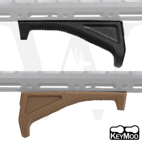 Tactical KeyMod Angled Forward Foregrip Fore Grip Forend Hand Stop Black / Tan