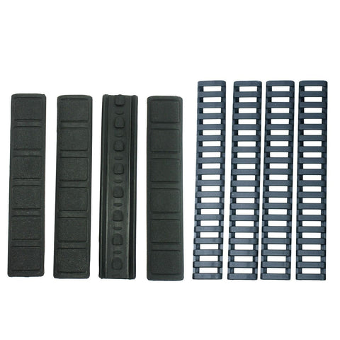 8 Pack Rubber Panel Covers + Ladder Rail Cover for Keymod Handguard - Black