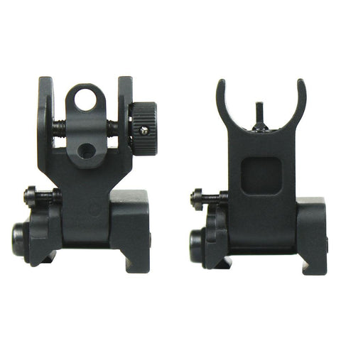 Premium Mil Spec Flip up Front Rear Iron Sight Set Fits Picatinny Rails Flattop - West Lake Tactical