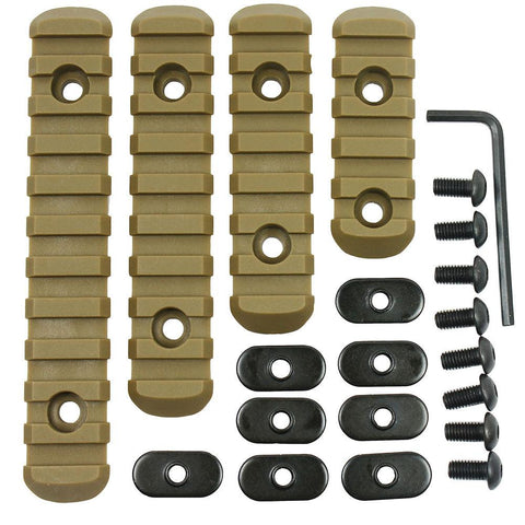 Tactical Polymer Picatinny Weaver Rail Section Set of 4 for MOE Handguard - Tan