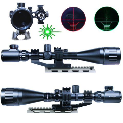6-24X50 AOEG Hunting Rifle Scope Dual illuminated Reticle with Green Laser Sight - West Lake Tactical