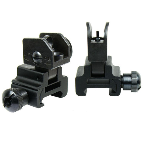 Premium Flip up Front Rear Iron Sight Set Dual Aperture Fit Picatinny Rail Black - West Lake Tactical