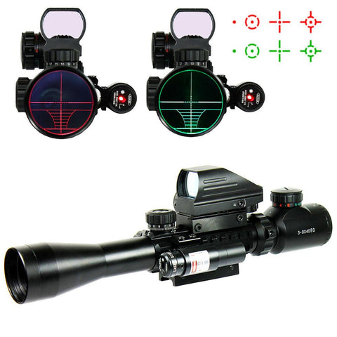 3-9X40 Tactical Rifle Scope + Red Green 4 Reticle Holographic Sight & Red Laser - West Lake Tactical