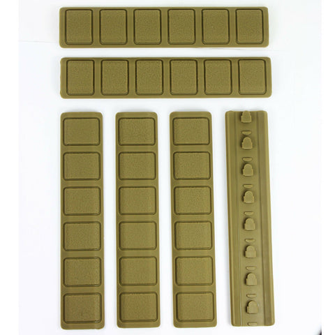 Pack of 6 Tan KeyMod Rail Cover Textured Anti Slip Soft Rubber Panels - 6.25""
