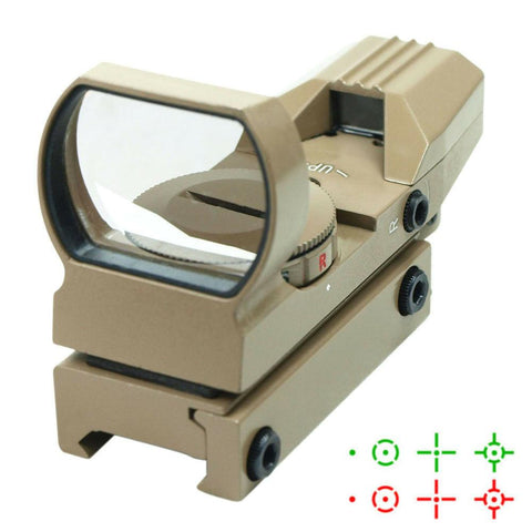 Tactical Holographic Reflex Sight Red - Green 4 Reticles with Rail Mount - Tan - West Lake Tactical