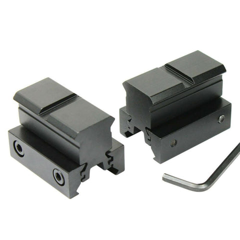"2 PCS Flat Top 1"" Rail Riser Block Mounts for Pictinney and 11mm Dovetail Rail - West Lake Tactical"