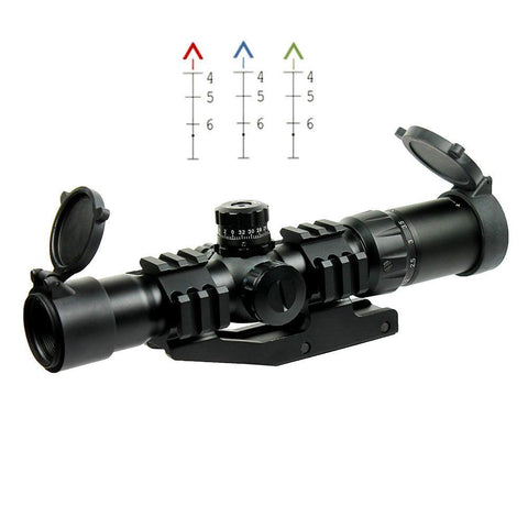 1.5-4X30 Tactical Rifle Scope with Tri-Illuminated Chevron Reticle - PEPR Mount