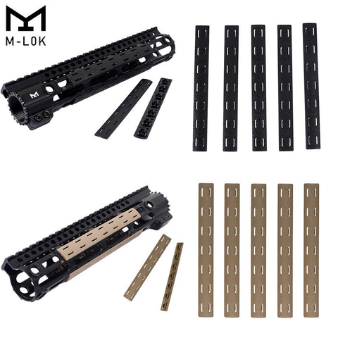 "5.5"" M-LOK Rail Panel Cover Handguard Slot Covers Snap-in 5 PCS Pack Black / Tan"