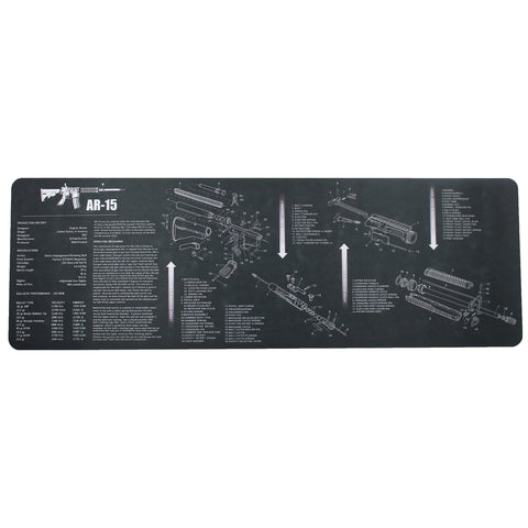 AR-15 M16 M4 Gun Cleaning Bench Mat with AR15 Parts List Black - West Lake Tactical