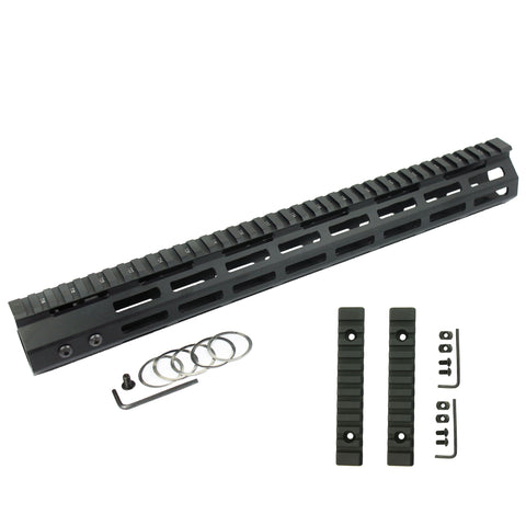 "15"" M-LOK Handguard Quad Rail 7 Sided Ultra Slim Free Float Aluminum Black with Two 5"" M-Lok Rail Sections"