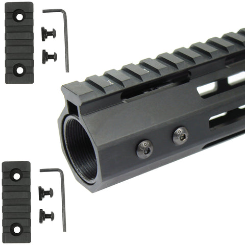 "10"" M-LOK Handguard 7 Sided Ultra Slim Free Float with 2.5"" Rail Sections"