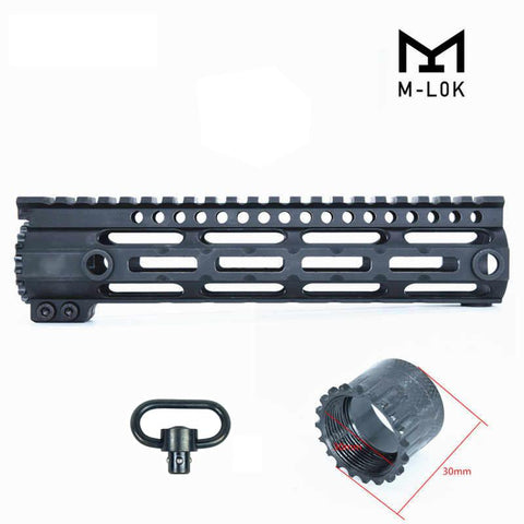"10"" M-LOK Ultra-Slim Ultra-Light Free Float Quad Rail Handguard with Swivel"
