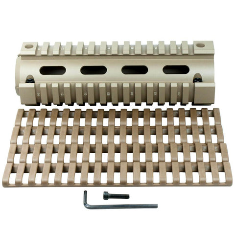 "New Carbine Length 6.7"" Handguard Picatinny Quad Rail w/ 4 Ladder Rail Cover Tan - West Lake Tactical"