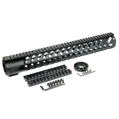 "15"" inch KEYMOD Free Float Quad Rail Slim Handguard w/ Additional Rail Sections - West Lake Tactical"