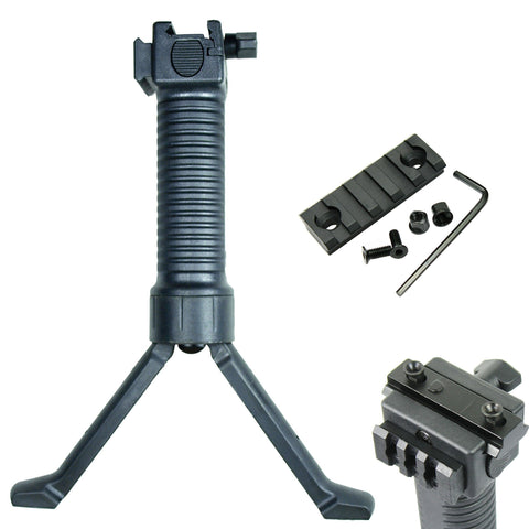 "Tactical Foregrip / Bipod with 2"" Picatinny Rail Section for KEYMOD Handguard"