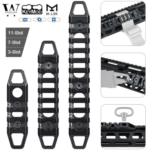 Hollow M-LOK / KeyMod Rail Section 3 7 11 Slot Picatinny Accessory Rail Sections - West Lake Tactical