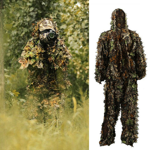 3D Ghillie Suit Set Sniper Train Leaf Jungle Forest Wood Hunting Camouflage - West Lake Tactical