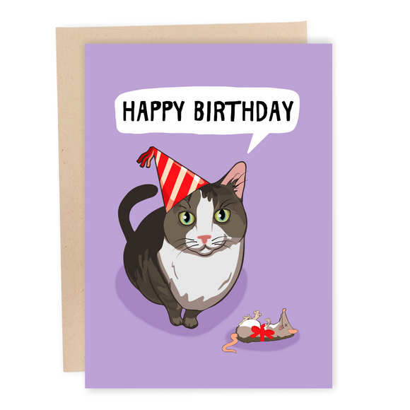 funny cat birthday card mouse