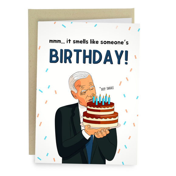funny Joe Biden birthday card smelling cake sniffing