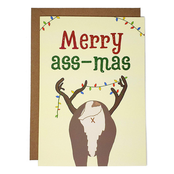 Merry Ass-Mas - Dirty Card - Naughty Adult Greeting Card - Sleazy Greetings