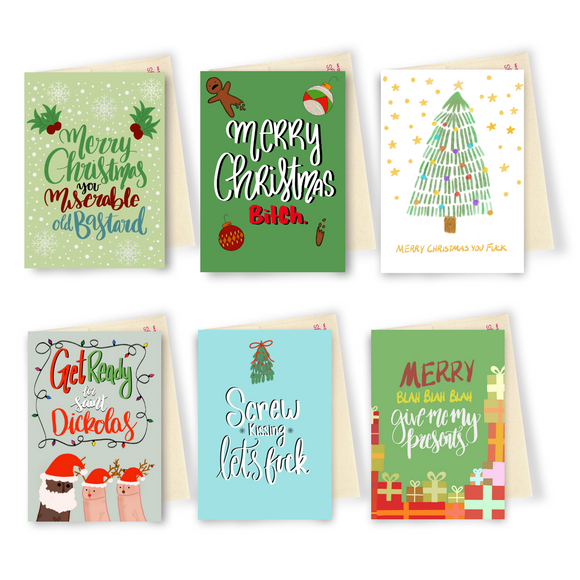 Holiday Vibe 6 Card Bundle - Dirty Card - Naughty Adult Greeting Card - Sleazy Greetings