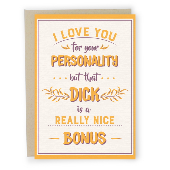 Really Nice Bonus - Dirty Card - Naughty Adult Greeting Card - Sleazy Greetings