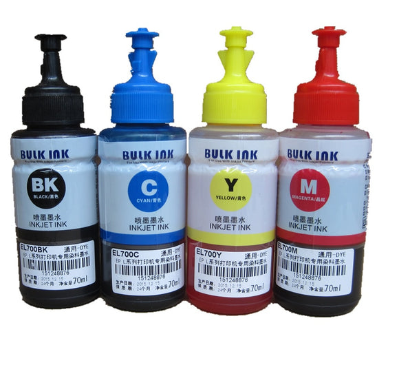 70ml 4 PCS dye Refill Ink kit for EPSON L / EcoTank ET