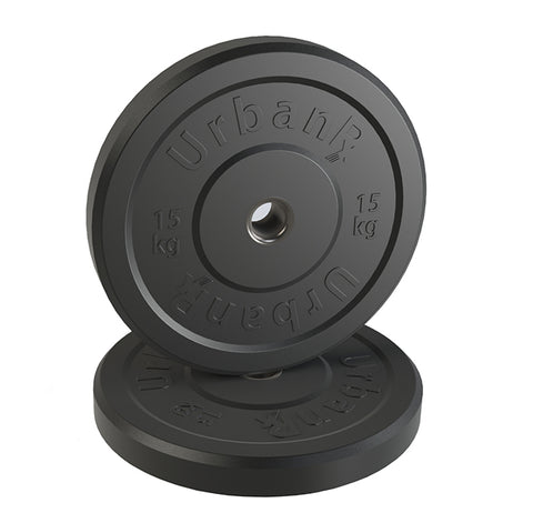 URX Black Olympic Rubber Bumper Plate Pair (15kg)