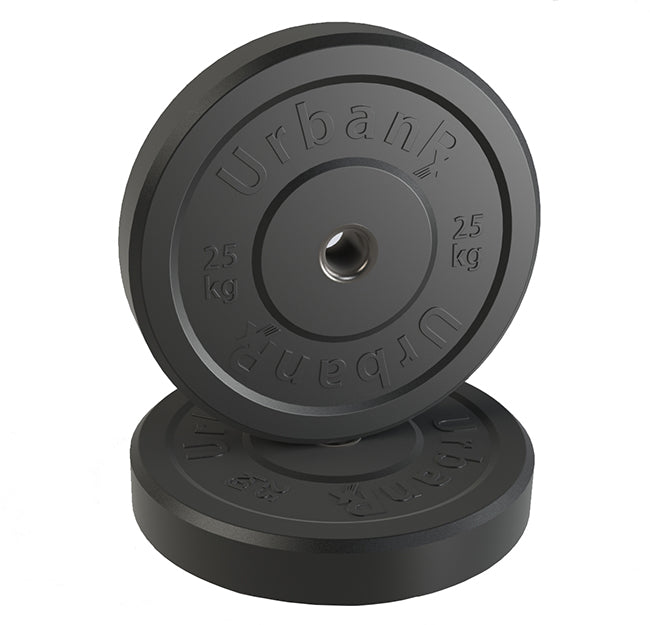 URX Black Olympic Rubber Bumper Plate Pair (25kg)